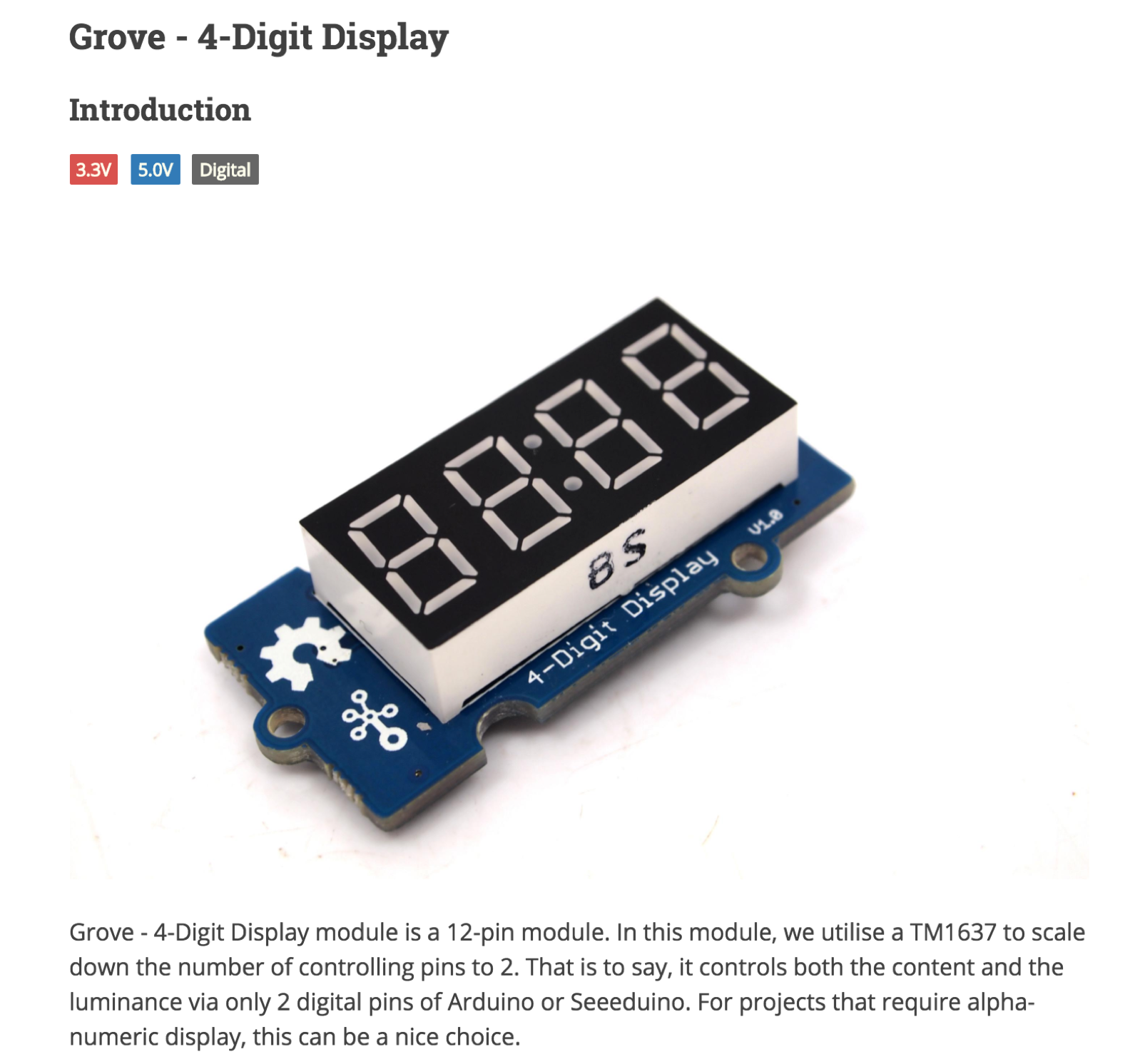 Grove - 4-Digit Display - Seeed Wiki